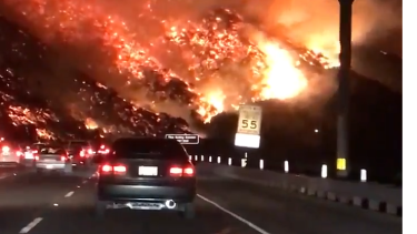 The California fires have closed one of America's busiest freeways - the traffic-choked 405