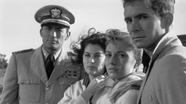 Gregory Peck (left), Ava Gardner, Donna Anderson and Anthony Perkins. Anderson, the last surviving member of the cast, says 'the Australians were just incredibly nice'.