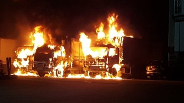 The suspicious fire at a Braeside transport business on Wednesday morning.