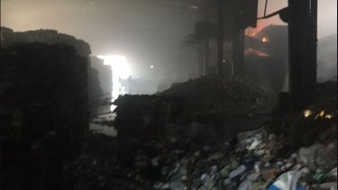 Inside the SKM Recyling factory in Coolaroo after the blaze in February.