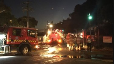 More than 20 fire trucks and four cranes are on the scene at Maffra and Lisa streets.