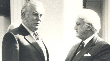 In better times: Gough Whitlam (L) speaking to Sir John Kerr.