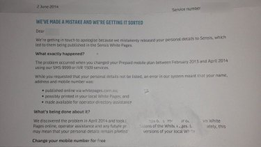 A portion of the letter Optus sent customers