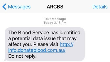 A text message sent to people potentially affected by the Red Cross data breach.