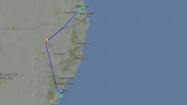 The plane was flying near Narrabri in northern NSW when it was diverted to Brisbane.