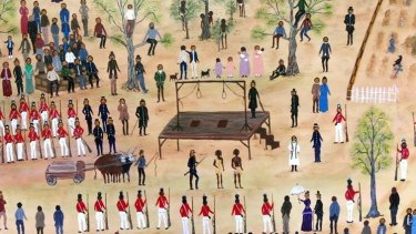 Ballarat indigenous artist Aunty Marlene's depiction of the 1842 hanging.