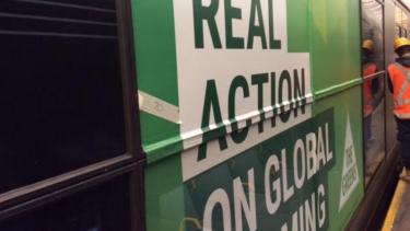 A Greens advertisement on a Sydney train.
