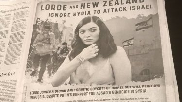 Pro-Israel group The World Values Network took out this full-page ad in the Washington Post attacking New Zealand and Lorde.