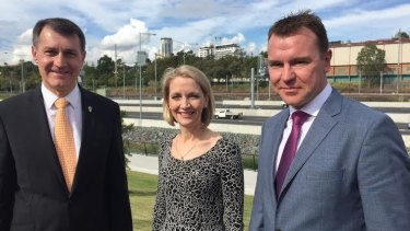 Announcing the ICB changes were Lord Mayor Graham Quirk, Infrastructure Committee chair Cr Amanda Cooper and Transurban's Wes Ballantyne.