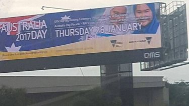 This Australia Day billboard featuring two young girls in hijab was removed after a backlash.