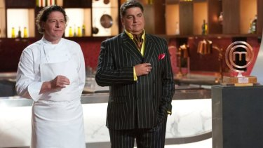 Matt Preston, right, with Marco Pierre White - before he defected from <i>MasterChef</i> to <i>Hell's Kitchen</i>.