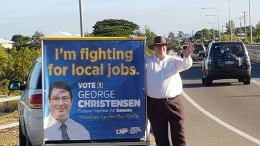 George Christensen campaigning in the Queensland seat of Dawson.