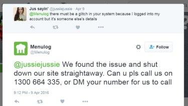 Menulog customers took to Twitter to air security concerns.