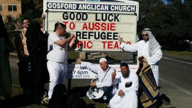 Party for Freedom members, dressed in Arabic garb, stormed the Gosford Anglican Church and interrupted a service.