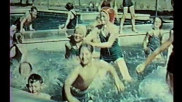Video stills from Catherine Bell's video work Treated: The Sublime Passage, based on footage of children at the Cocoroc pool from the Melbourne Water Archives