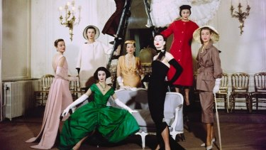 Svetlana Lloyd (in green) in 1957, with other Dior mannequins for a shoot which featured in LIFE Magazine.