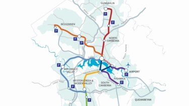 The ACT government's light rail master plan map