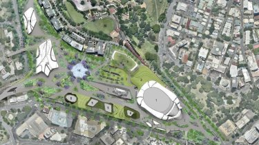An artists impression of the proposed $2 billion entertainment precinct AEG Ogden will take to the State Government.