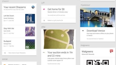 Some examples of third-party Google Now cards.
