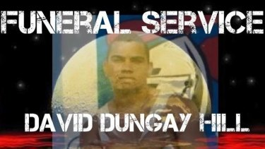 An online notice for the funeral of David Dungay Hill, who died on December 29 at Sydney's Long Bay prison.