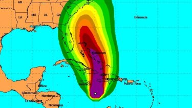 A map showing the expected wind speeds generated by Hurricane Matthew.
