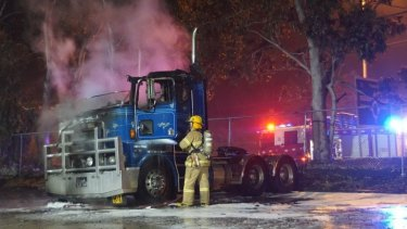Four trucks were completely burnt out and a fifth truck sustained heat damage.