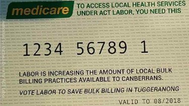 ACT Labor's fake Medicare cards, with 30,000 distributed in the election campaign.