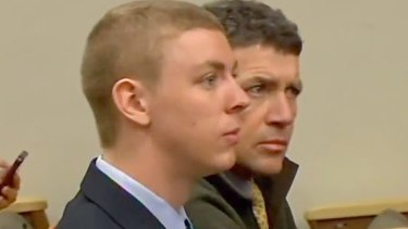 Brock Turner and his father Dan Turner in court. Dan Turner offered supportive character testimony.