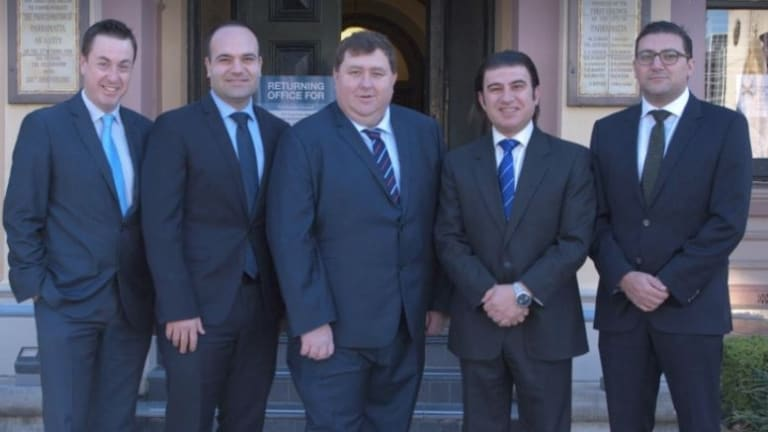 Parramatta council's Liberal faction holds six of the 15 seats on council. From left: Andrew Jeffries, Martin Zaiter, Bill Tyrrell, Benjamin Barrak, Steven Issa.