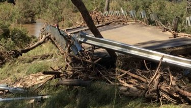 Flood damage to the bridge at Monto.