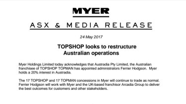 Myer released a statement after news broke that Topshop Australia had been put into voluntary administration.