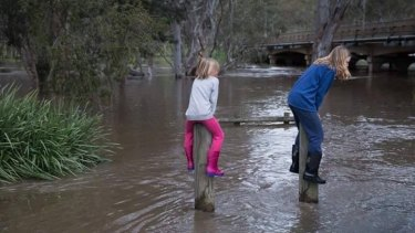 Pole sitting as the Glenelg River broke its banks and caused flooding around Casterton in western Victoria over the weekend.