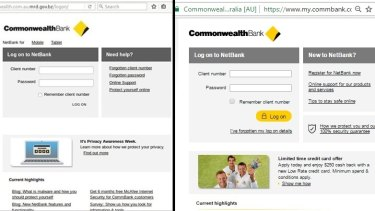 Real or fake? Commonwealth Bank's internet banking sign in webpage.