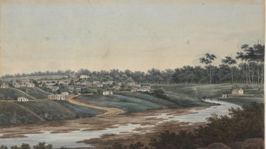 G.W. Evans 1809 painting shows the Gaol Bridge in Parramatta. To the left, on the hill, is Old Government House and on the far right is the prison in Prince Alfred Park.