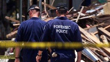 Western Australia police forensic investigators on site in Bali 2002.