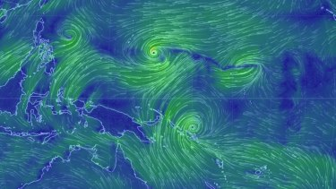 Cyclone Raquel over the Solomon Islands and the emerging Typhoon Chan-Hom.