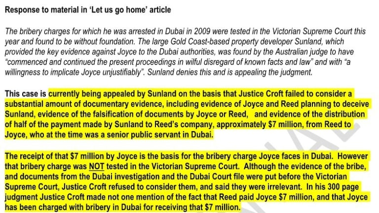 Extract of Ms Holzapfel's four-page defence of Sunland - the highlighted section shows just part of the statement that later appeared in Mr Robert's speech to Parliament.