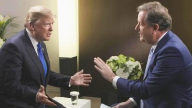 Piers Morgan interviews US President Donald Trump in Davos for British commercial broadcaster ITV.