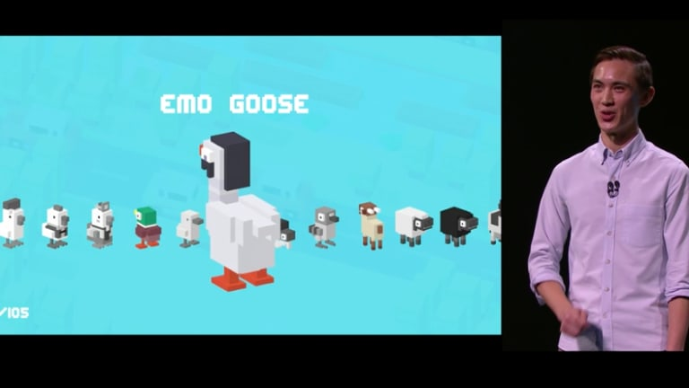 Hipster Whale's Andy Sum demonstrates <i>Crossy Road</i> on the Apple TV.