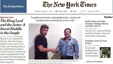 "<em>The New York Times </em>has published a <em>Rolling Stone</em> photo of Sean Penn with Joaquin ""El Chapo"" Guzman."