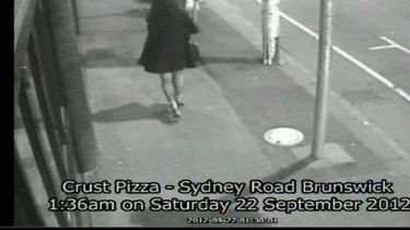 CCTV shows Jill Meagher walking along Sydney Road the night she was murdered.