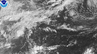 Satellite imagery of part of the north Pacific Ocean.
