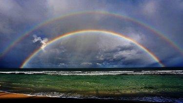 Bob Ellisdon captures the double rainbow off WA's coast.