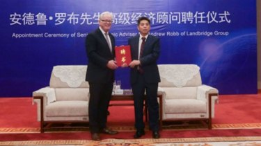Former trade minister Andrew Robb at his appointment ceremony.