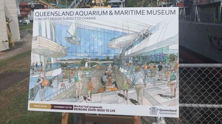 An early concept design for the Queensland aquarium - although the government expects a detailed concept within months.