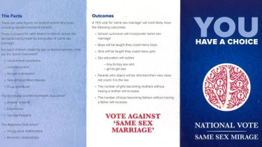 An anti-same sex marriage pamphlet distributed in 2016.