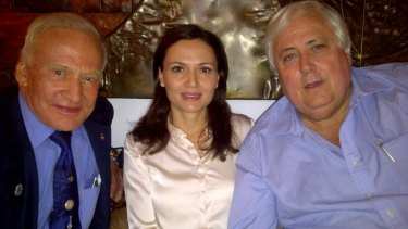 Clive Palmer and wife Anna meet astronaut Buzz Aldrin in New York.