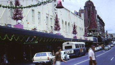A photo from outside Waltons, Fortitude Valley, at Christmas time circa 1972-73.