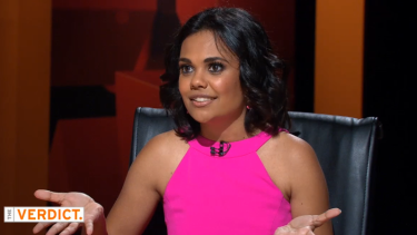 Miranda Tapsell appears on Channel 9's The Verdict.