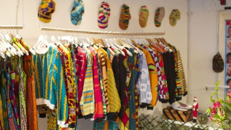 Yevu pop-up contains an eye-popping range of  printed cottons and hand-woven fabrics made in Ghana.